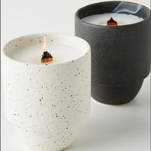 Anthropologie Akemi Ceramic Candle CHARCOAL NWT